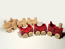 Old pallet turned into toy train.