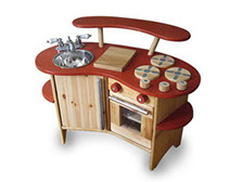Reclaimed wood and hardware becomes a play kitchen.